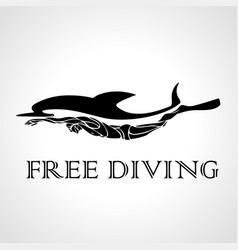 free diver and dolphin freediving logo vector image