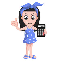 girl with calculator on white background vector image