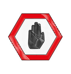 grated warning metal notices with stop sign vector image