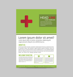 green and red medical flyer layout template vector image
