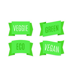green ribbons banners eco and bio tags vector image