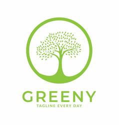Green tree circle logo design vector