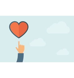 Hand pointing to heart icon vector
