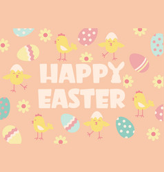 happy easter background with text and traditional vector image