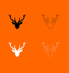 Head deer black and white set icon vector