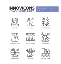 Heavy industry line design icons set vector