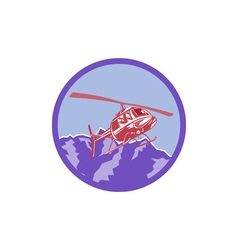 Helicopter Alps Mountains Circle Retro vector image