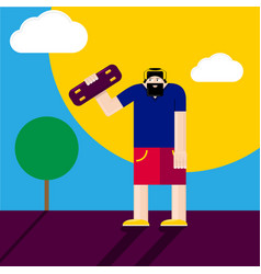 hipster man stay on road with skateboard vector image