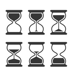 hourglass retro icons set isolated on white vector image