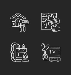 House repairs and facilities chalk white icons vector