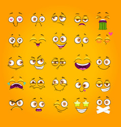 Humorous emoji set emoticon face collection vector