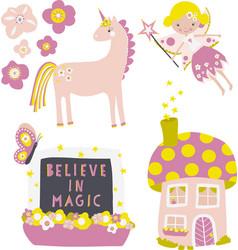 icon set fairy flowers mushroom fairy vector image
