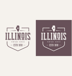 Illinois state textured vintage t-shirt and vector