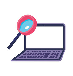 Isolated lupe and laptop design vector