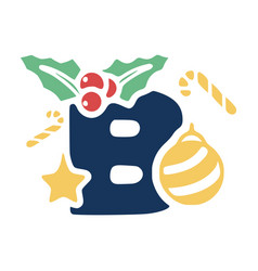 Letter b is decorated with mistletoe and vector