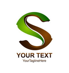 letter s logo design template colored green brown vector image