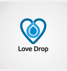 love drop with blue color logo icon element and vector image