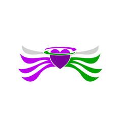 love heart wing freedom logo vector image