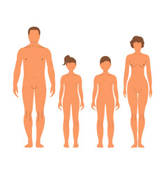 Man woman boy and girl human front side vector