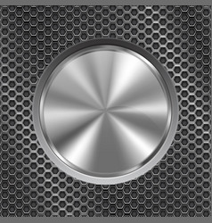 Metal round button on perforated background vector