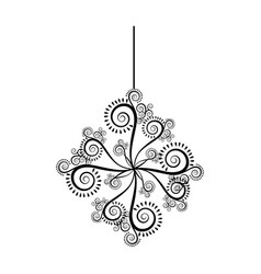 Monochrome silhouette with floral ornament and vector