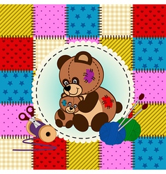 Mother and baby bear vector