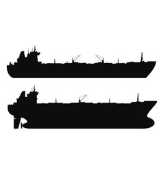 oil tankers silhouettes set vector image