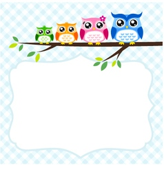owl family at tree spring vector image vector image