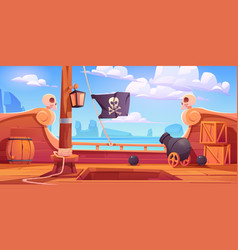 Pirate ship wooden deck onboard view with cannon vector