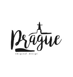 Prague european capital city name original design vector