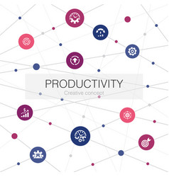 Productivity trendy web template with simple icons vector