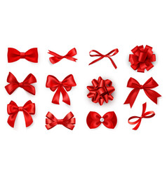 realistic bow set red silk ribbons with vector image