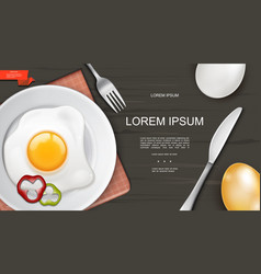 realistic colorful breakfast template vector image