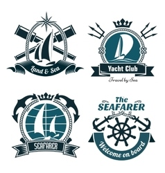 Retro marine and nautical symbols vector image