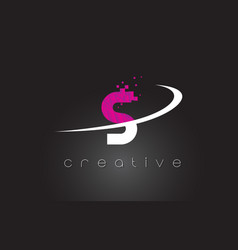 s creative letters design with white pink colors vector image