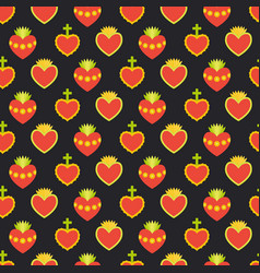 Sacred heart seamless pattern vector