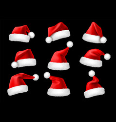 santa claus hats realistic christmas holiday red vector image