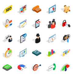 Seo help icons set isometric style vector