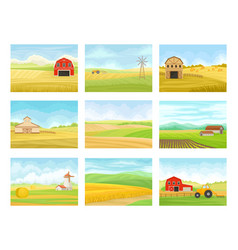 Set images agricultural machinery and vector