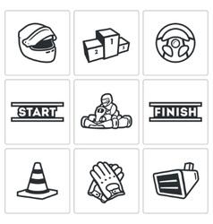 Set karting icons helmet pedestal vector