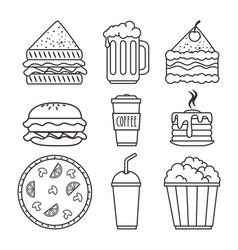 set of fast food icon vector image