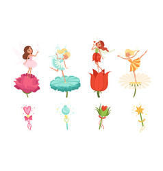 set of little fairies hovering over beautiful vector image