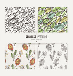 Set of seamless doodle floral and leaves patterns vector
