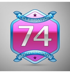 Seventy four years anniversary celebration silver vector