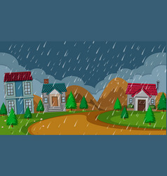 Simple rural house rainy night vector