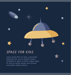 Single ufo spaceship and starry sky in a open vector