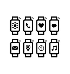 Smart watch design set in line art style with icon vector