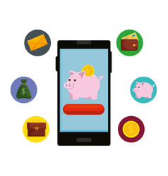 Smartphone with piggy savings and ecommerce icons vector