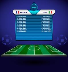 Soccer Match Scoreboard on a Playfield vector
