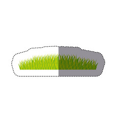 Sticker color background with green grass vector